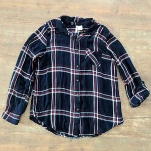 Navy Blue White Red Plaid Flannel Top Large